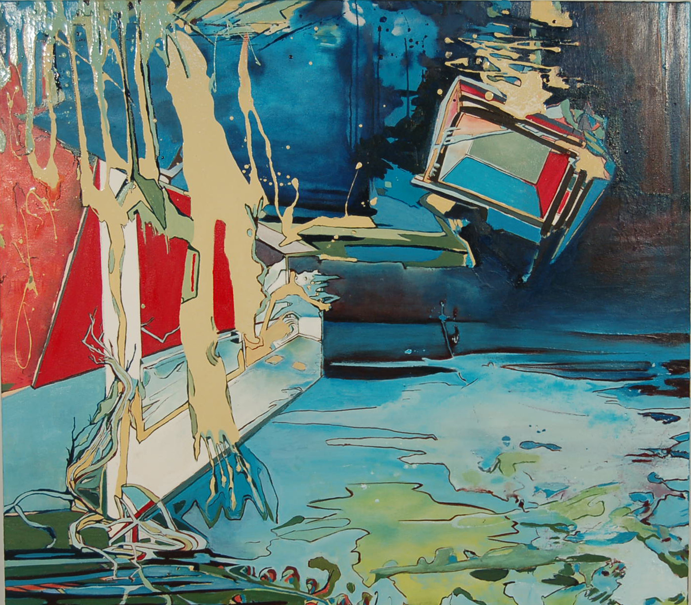 SOLD, Rough Draft of the Tidal Pools, 2010, 54 x 48, mixed media, $4300 USD
