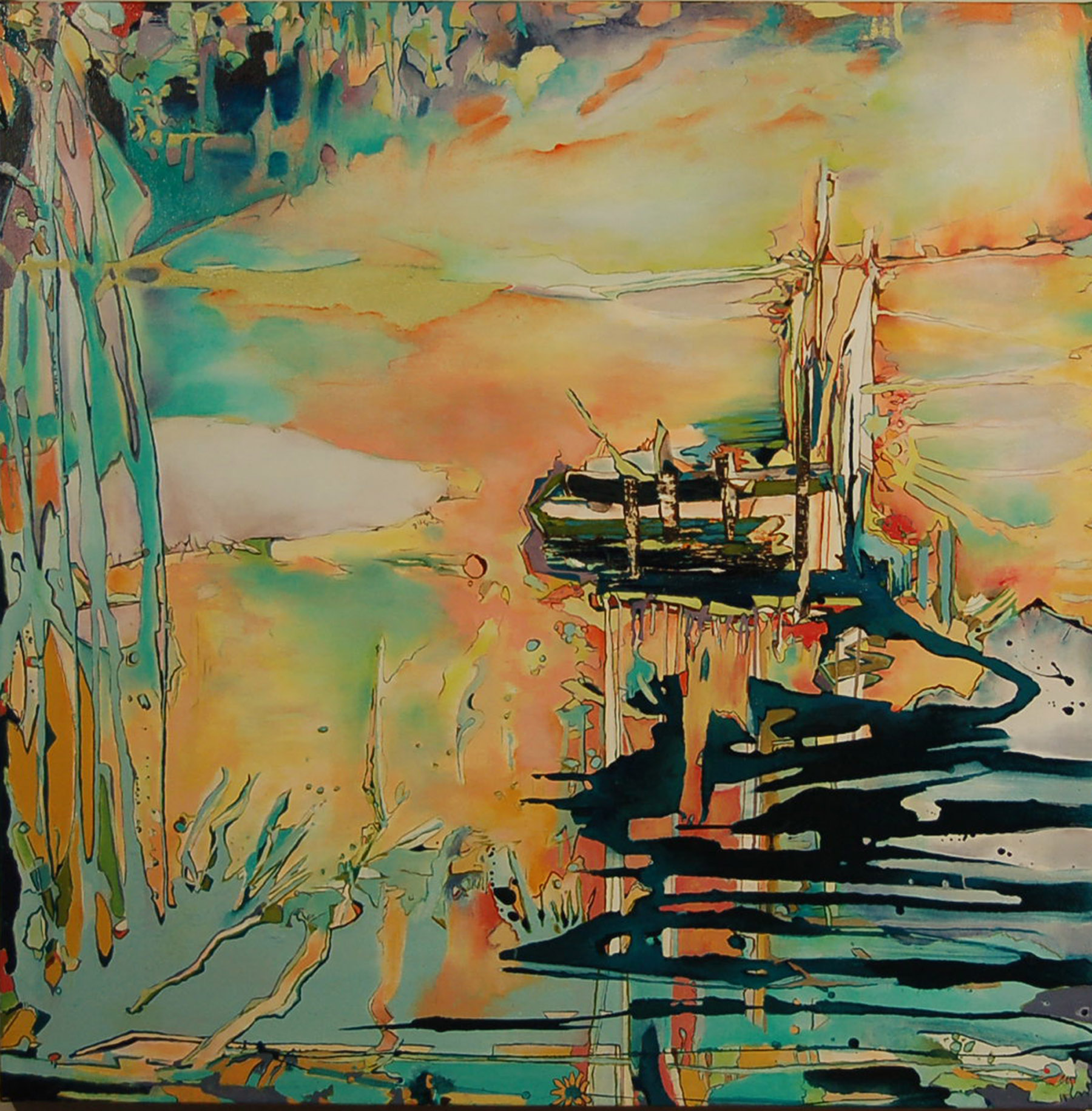 SOLD, Wet Dawn Inks the Shade,  2009, 48 x 54, mixed media, $4300 USD