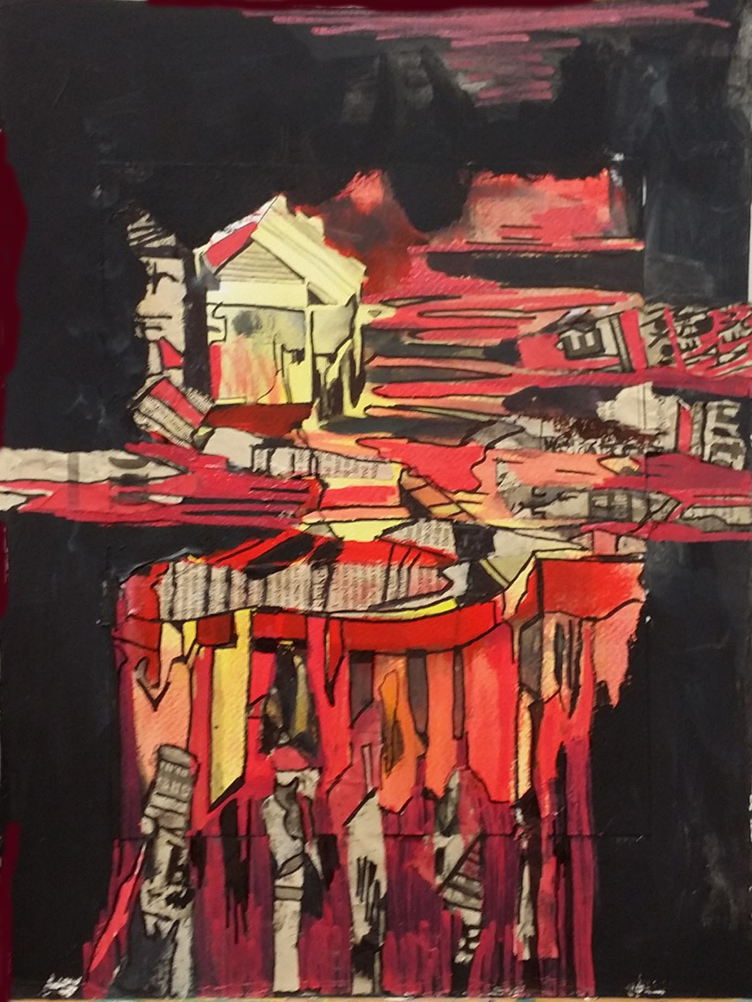 SOLD, Newspaper collage, acrylic and watercolor paint, marker on paper