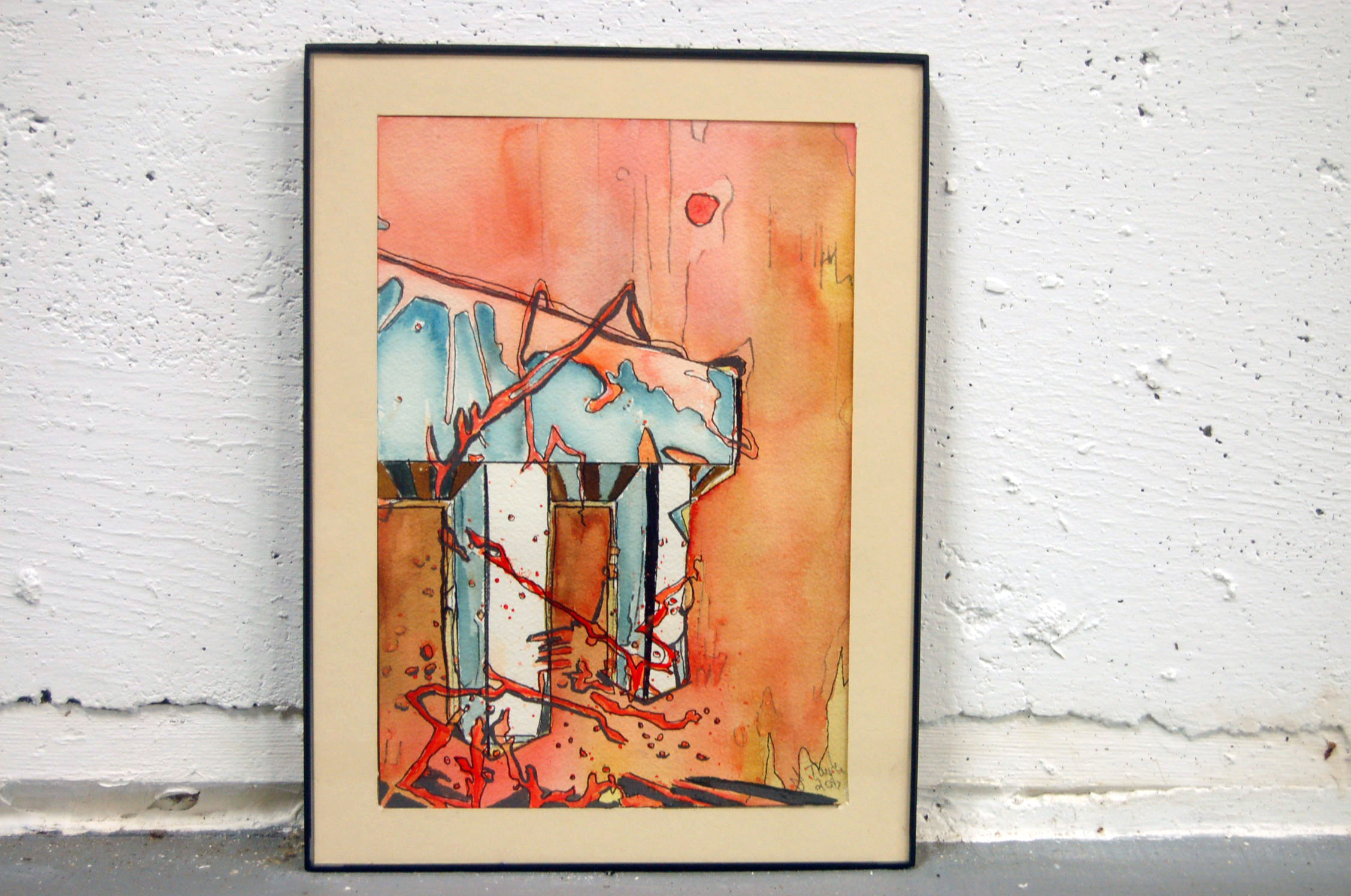 Watercolor and ink 9x12 framed 3