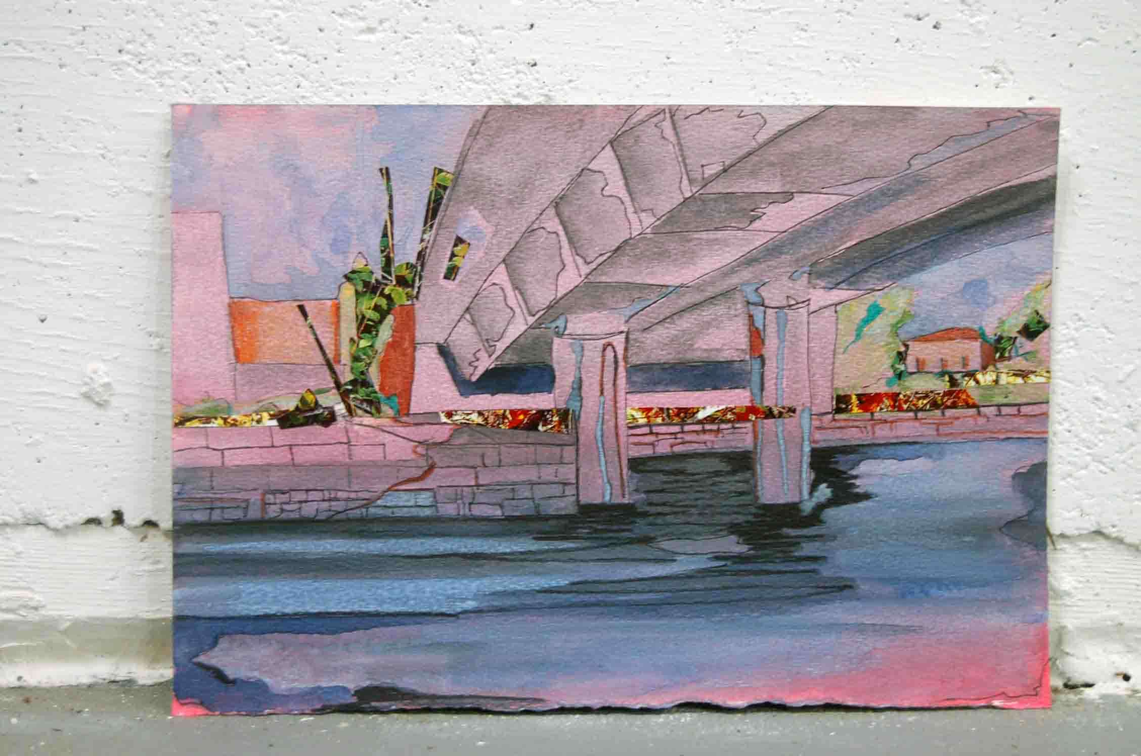 Watercolor ink and collage urban landscape