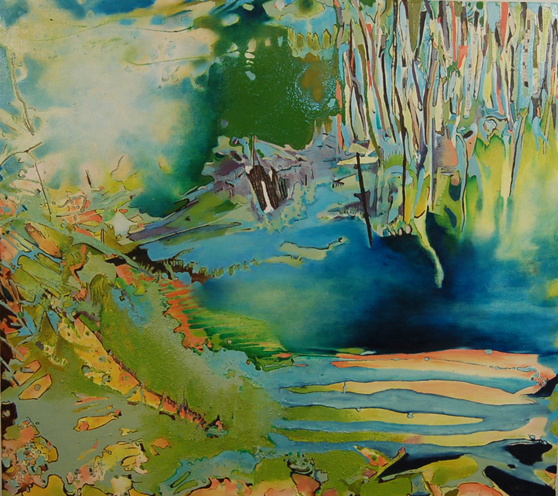 SOLD, Waterscape Wreckage 48 x 54 inches, Mixed Media